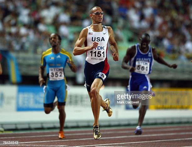 Jeremy Wariner of the United States of America crosses the line to win the Men's 400m Final on day seven of the 11th IAAF World Athletics...