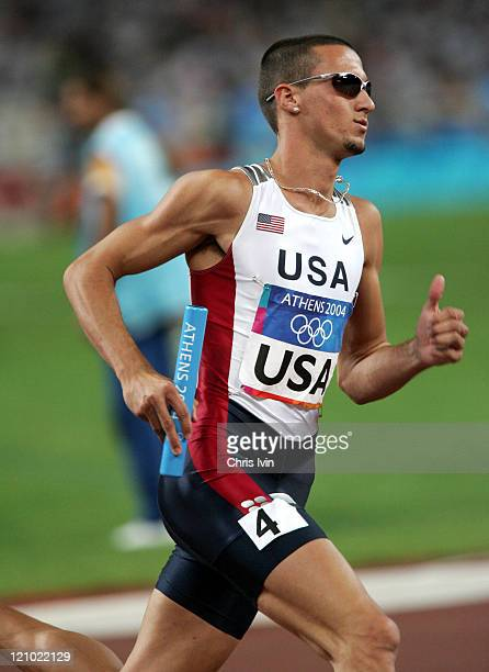 Jeremy Wariner of the United States runs in the Men's 4x400 Final Relay at the Olympic Centre in Athens Greece on August 28 2004 The USA team of Otis...