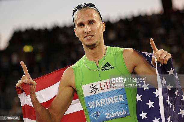 Jeremy Wariner of the US celebrates winning the men's 400 metre race at the Diamond League Weltklasse athletics meeting on August 19 2010 in Zurich...
