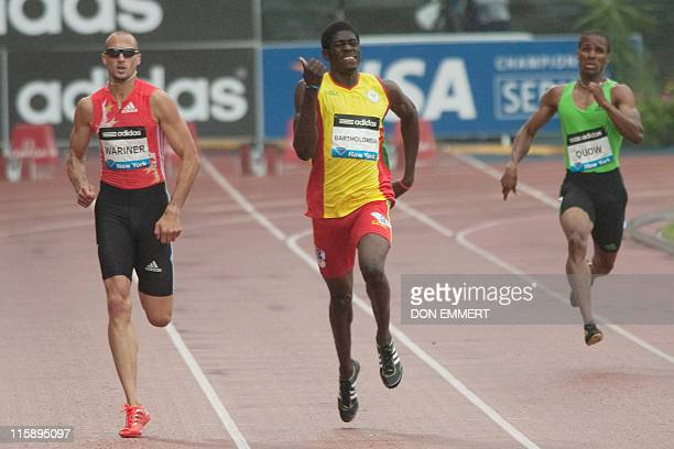 Jeremy Wariner of the US leads Rondell Bartholowmew of Grenada in the men's 400 meters at the Adidas Grand Prix on Randall's Island June 11 2011 in...