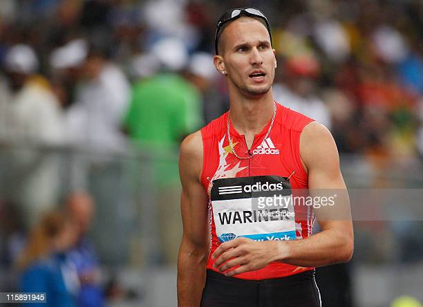 Jeremy Wariner of the US looks on after winning the Men's 400m during the adidas Grand Prix at Icahn Stadium on June 11 2011 in New York City