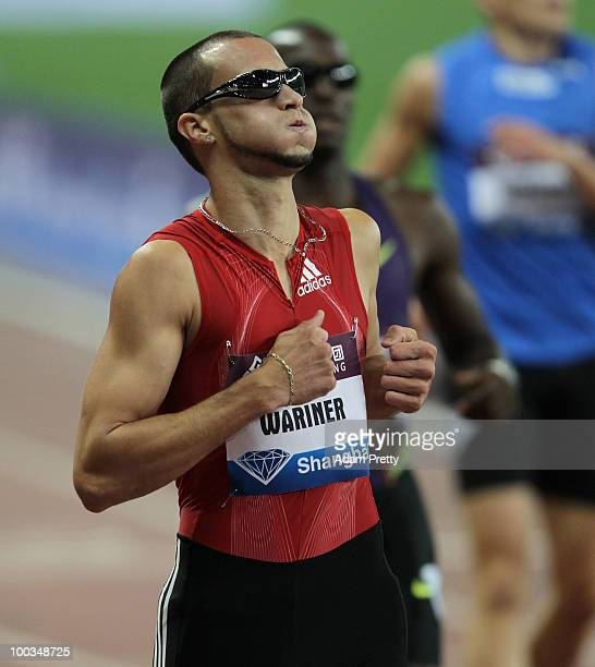 Jeremy Wariner of the USA after victory in the mens 400m during the IAAF Diamond League Shanghai at Shanghai Stadium on May 23 2010 in Shanghai China