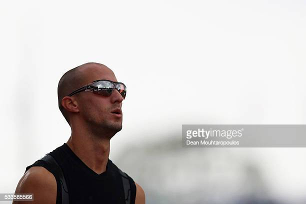 Jeremy Wariner of the USA gets ready to compete in the Mens 400m during the AA Drink FBK Games held at the FBK Stadium on May 22 2016 in Hengelo...