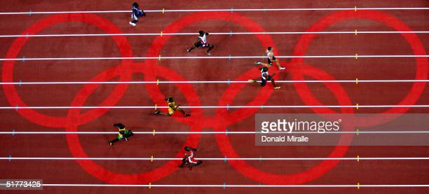 Jeremy Wariner of USA competes in the men's 400 metre final on August 23 2004 during the Athens 2004 Summer Olympic Games at the Olympic Stadium in...