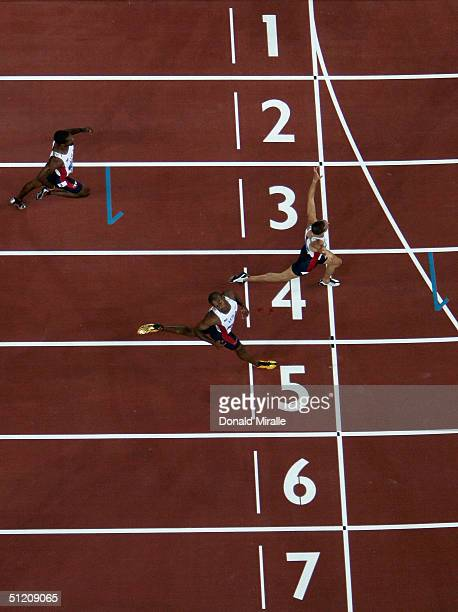 Jeremy Wariner of USA crosses the finish line competes in the men's 400 metre final on August 23 2004 during the Athens 2004 Summer Olympic Games at...