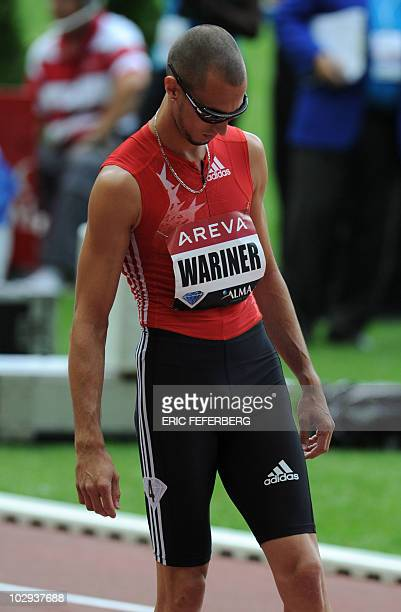 US Jeremy Wariner prepares to compete in the men's 400m event of the Paris IAAF Diamond League meeting on July 16 2010 at the Stade de France in...