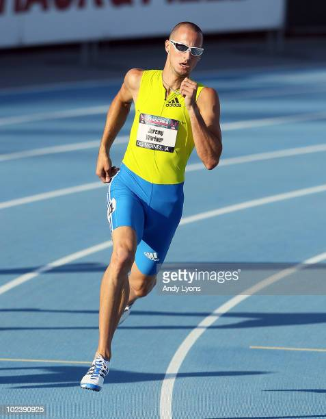 Jeremy Wariner runs in the 400 meter preliminaries during the 2010 USA Outdoor Track & Field Championships at Drake Stadium on June 24, 2010 in Des...