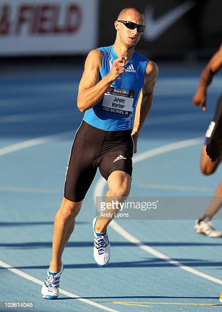 Jeremy Wariner runs in the Mens 400 Meter semifinals during the 2010 USA Outdoor Track Field Championships at Drake Stadium on June 25 2010 in Des...
