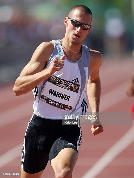 Jeremy Wariner wins firstround heat of 400 meters in 4529 in the USA Track Field Championships at the Home Depot Center in Carson California on...