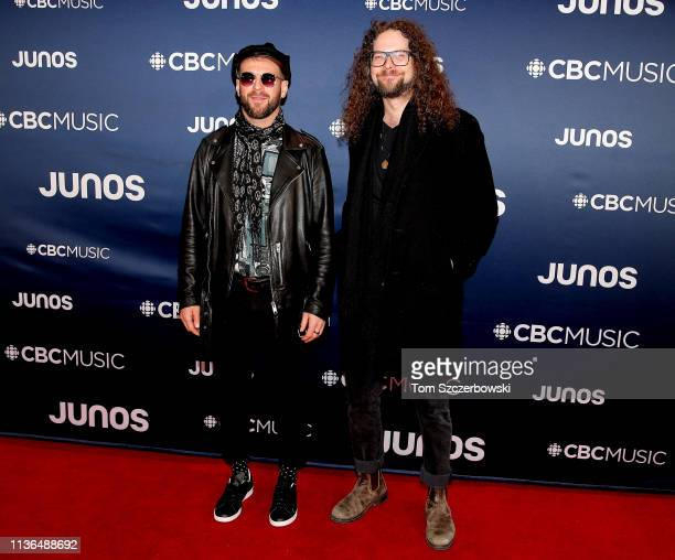 Jeremy Widerman and Brandon Bliss of Monster Truck attend the 2019 Juno Awards Arrivals at Budweiser Gardens on March 17 2019 in London Canada
