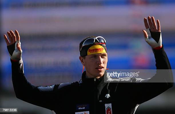 Jeremy Wotherspoon of Canada celebrates after winning the 500m heats during Day 2 of the Essent ISU Speed Skating World Cup at the Ludwig Schwabl...