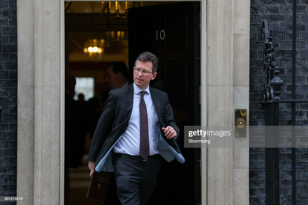 Jeremy Wright, U.K. attorney general, leaves following a weekly meeting of cabinet ministers at number 10 Downing Street in London, U.K., on Tuesday, March 13, 2018. U.K. Prime Minister Theresa May publicly accused Russia of a chemical weapon attack on British soil and warned of retaliatory measures that will further strain relations between the West and the Kremlin. Photographer: Simon Dawson/Bloomberg via Getty Images