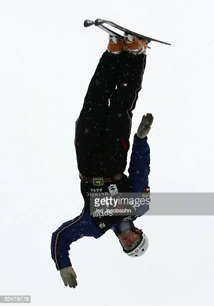 Jeret Peterson flips off a jump during the aerials portion of the 2005 US Freestyle Championships at the Utah Olympic Park on March 25 2005 in Park...