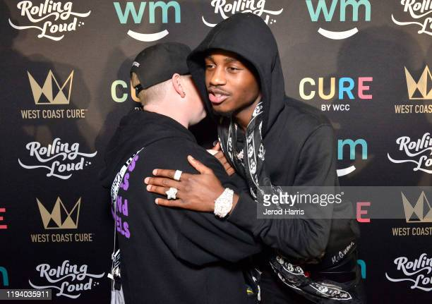 Jerett Wasserman and Lil Tjay attend Rolling Loud Fueled by West Coast Cure Los Angeles 2019 Day 1 on December 14 2019 in Los Angeles California