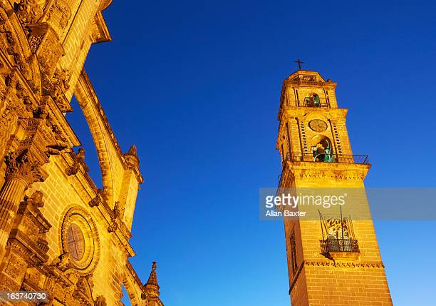 jerez de la frontera cathedral at night - jerez de la frontera stock pictures, royalty-free photos & images