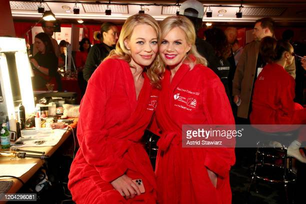Jeri Ryan and Gretchen Carlson prepare backstage at The American Heart Association's Go Red for Women Red Dress Collection 2020 at Hammerstein...