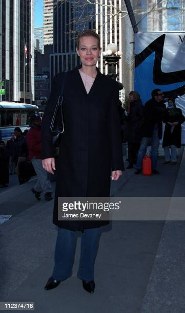 Jeri Ryan during Jeri Ryan Sighting at the Fall 2002 New York Fashion Shows at Bryant Park New York City in New York New York United States