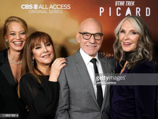 "Jeri Ryan, Marina Sirtis, Patrick Stewart and Gates McFadden attend the premiere of ""Star Trek: Picard"" at ArcLight Cinerama Dome on January 13, 2020..."