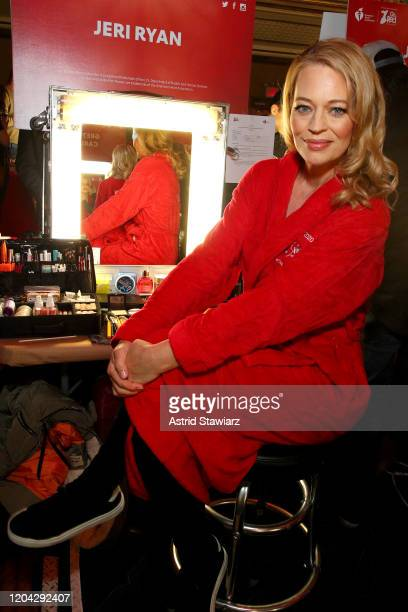 Jeri Ryan prepares backstage at The American Heart Association's Go Red for Women Red Dress Collection 2020 at Hammerstein Ballroom on February 05...