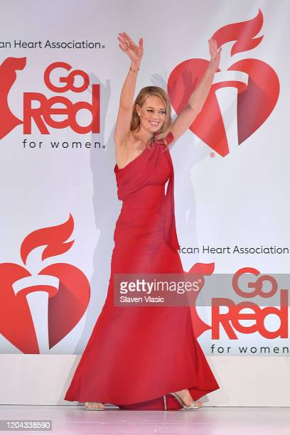 Jeri Ryan walks the runway at The American Heart Association's Go Red for Women Red Dress Collection 2020 at Hammerstein Ballroom on February 05 2020...