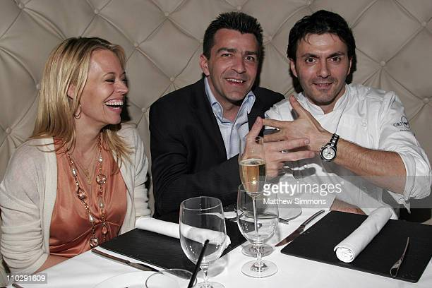 Jeri Ryan Yannick Alleno and Christophe Eme during Chef Yannick Alleno Dines at Ortolan with Jeri Ryan and Christophe Eme February 21 2007 at Ortolan...