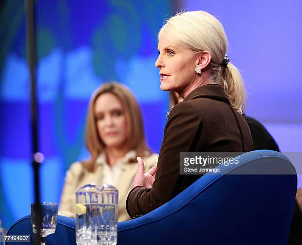 Jeri Thompson and Cindy Hensley McCain speak during a Conversation with Presidential Spouses discussion at the Women's Conference 2007 held at the...