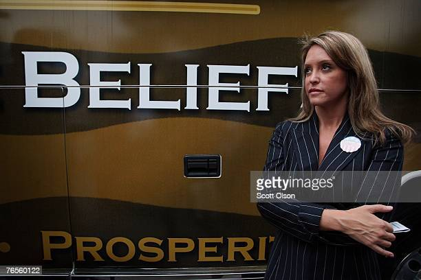 Jeri Thompson the wife of Actor and former US Senator Fred Thompson listens to her husband make a speech during a campaign stop September 6 2007 in...