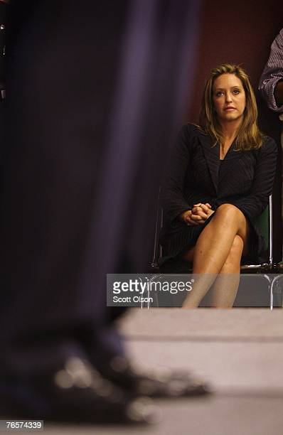 Jeri Thompson the wife of actor and former US Senator Fred Thompson watches as her husband delivers a speech September 7 2007 in Sioux City Iowa This...