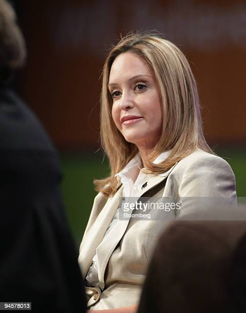 Jeri Thompson wife of Republican presidential candidate Fred Thompson speaks at a panel discussion with some of the other candidates' spouses at the...