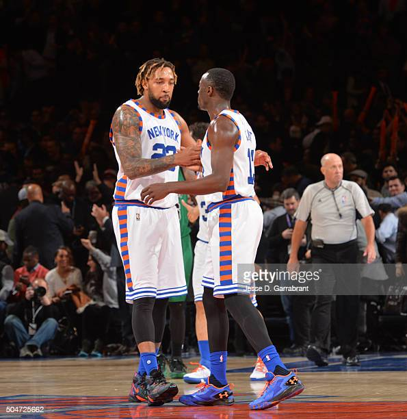 Jerian Grant and Derrick Williams of the New York Knicks congratulate each other after the win against the Boston Celtics at Madison Square Garden on...