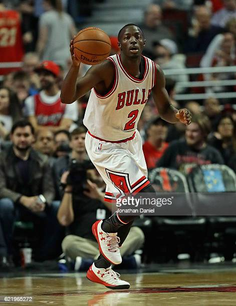 Jerian Grant of the Chicago Bulls brings the ball up the court against the Orlando Magic at the United Center on November 7 2016 in Chicago Illinois...