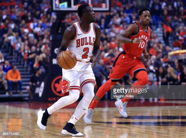 Jerian Grant of the Chicago Bulls dribbles the ball during to the first half of an NBA game against the Toronto Raptors at Air Canada Centre on...