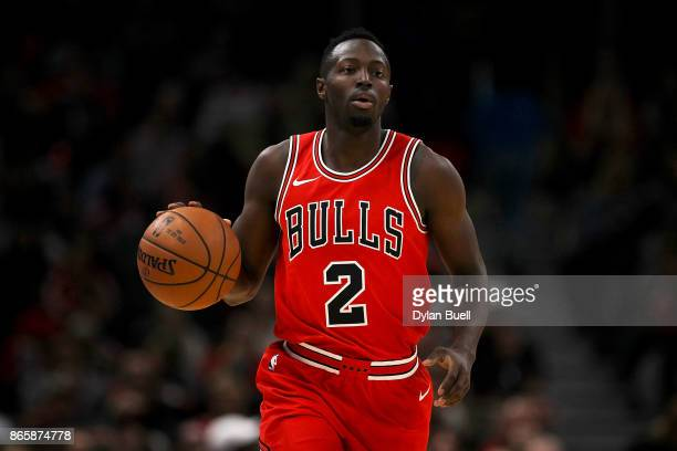 Jerian Grant of the Chicago Bulls dribbles the ball in the first quarter against the San Antonio Spurs at the United Center on October 21 2017 in...