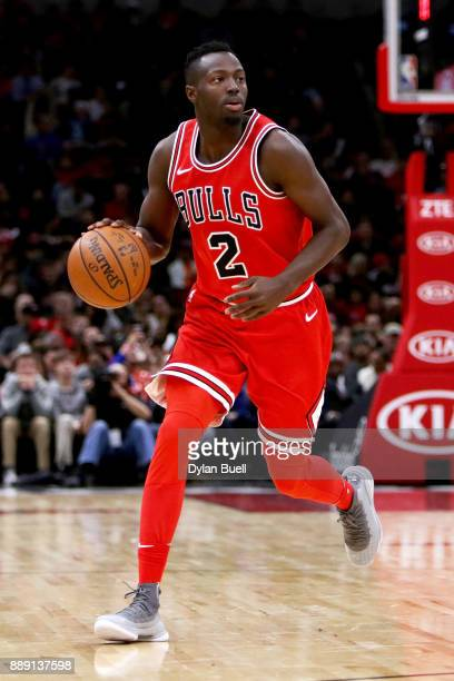 Jerian Grant of the Chicago Bulls dribbles the ball in the third quarter against the New York Knicks at the United Center on December 9 2017 in...