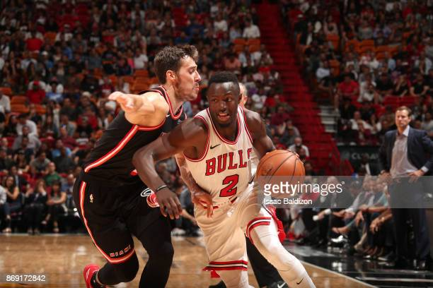 Jerian Grant of the Chicago Bulls drives to the basket against the Miami Heat on November 1 2017 at American Airlines Arena in Miami Florida NOTE TO...