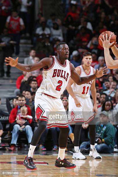 Jerian Grant of the Chicago Bulls fights for position against the Milwaukee Bucks during a preseason game on October 3 2016 at United Center in...