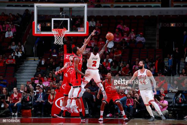 Jerian Grant of the Chicago Bulls goes to the basket against the Toronto Raptors on October 13 2017 at the United Center in Chicago Illinois NOTE TO...