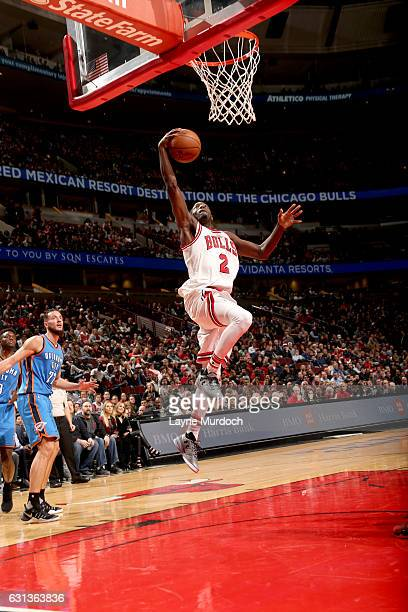 Jerian Grant of the Chicago Bulls goes to the basket against the Oklahoma City Thunder on January 9 2017 at the United Center in Chicago Illinois...