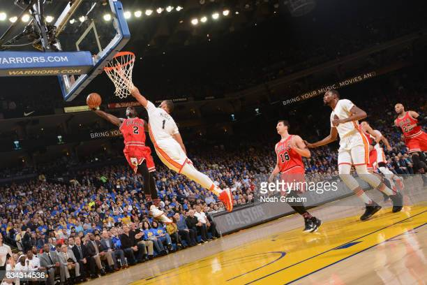 Jerian Grant of the Chicago Bulls goes to the basket against the Golden State Warriors on February 8 2017 at ORACLE Arena in Oakland California NOTE...