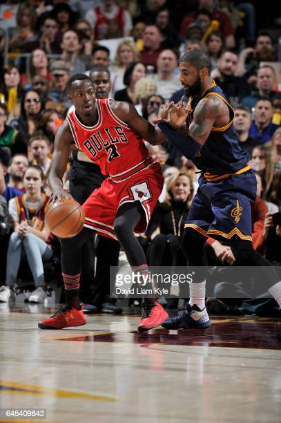 Jerian Grant of the Chicago Bulls handles the ball against Kyrie Irving of the Cleveland Cavaliers during the game on February 25 2017 at Quicken...