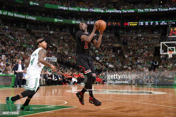 Jerian Grant of the Chicago Bulls handles the ball against the Boston Celtics during the Eastern Conference Quarterfinals of the 2017 NBA Playoffs on...