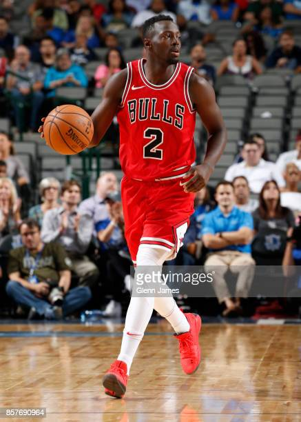 Jerian Grant of the Chicago Bulls handles the ball against the Dallas Mavericks on October 4 2017 at the American Airlines Center in Dallas Texas...