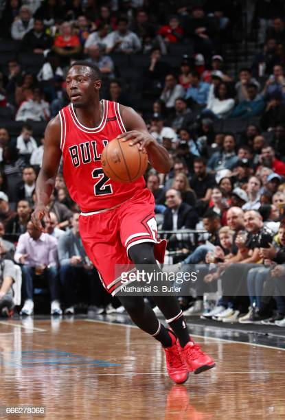 Jerian Grant of the Chicago Bulls handles the ball against the Brooklyn Nets during the game on April 8 2017 at Barclays Center in Brooklyn New York...