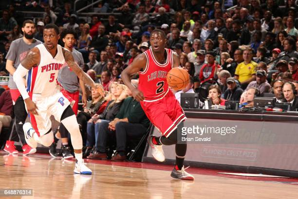 Jerian Grant of the Chicago Bulls handles the ball against the Detroit Pistons on March 6 2017 at The Palace of Auburn Hills in Auburn Hills Michigan...