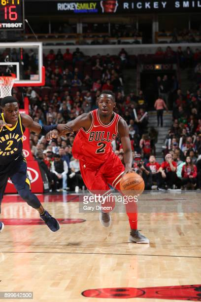 Jerian Grant of the Chicago Bulls handles the ball against the Indiana Pacers on December 29 2017 at the United Center in Chicago Illinois NOTE TO...