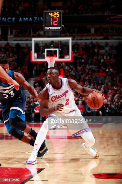Jerian Grant of the Chicago Bulls handles the ball against the Minnesota Timberwolves on February 9 2018 at the United Center in Chicago Illinois...