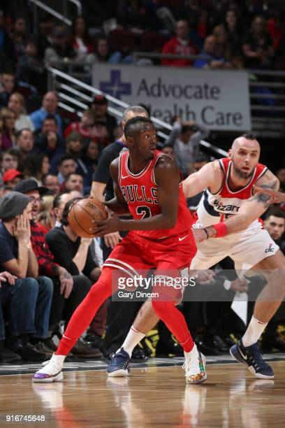 Jerian Grant of the Chicago Bulls handles the ball against the Washington Wizards on February 10 2018 at the United Center in Chicago Illinois NOTE...