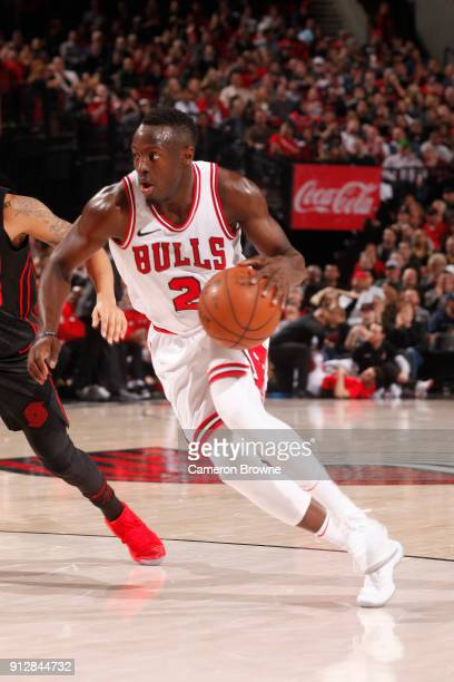 Jerian Grant of the Chicago Bulls handles the ball against the Portland Trail Blazers on January 31 2018 at the Moda Center in Portland Oregon NOTE...