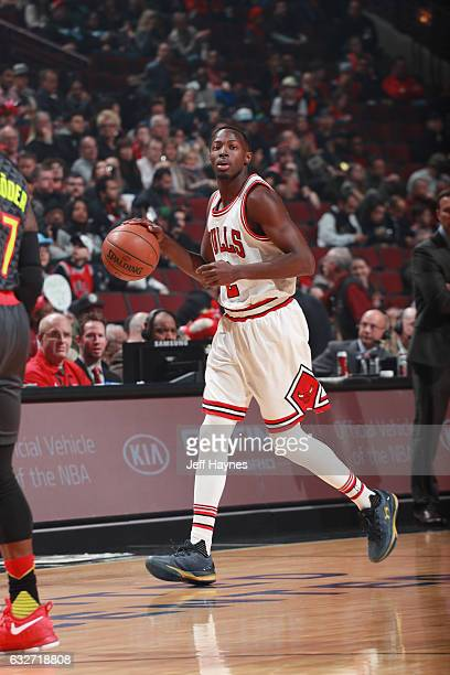 Jerian Grant of the Chicago Bulls handles the ball during the game against the Atlanta Hawks on January 25 2017 at the United Center in Chicago...