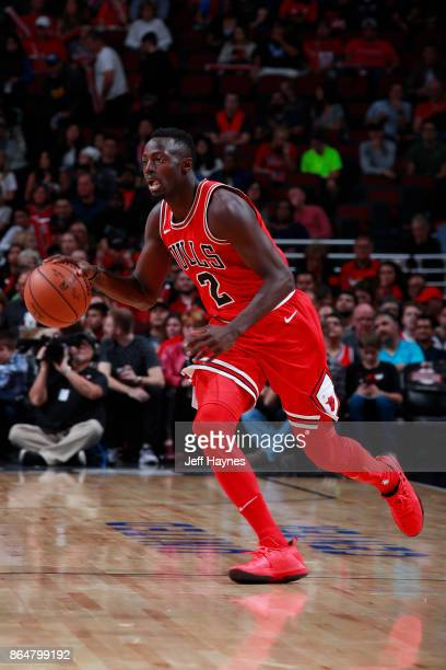 Jerian Grant of the Chicago Bulls handles the ball during the game against the San Antonio Spurs on October 21 2017 at the United Center in Chicago...